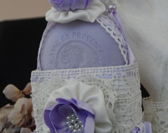 scented soap decorated with basket of silk and lace from le Puy romantic shabby style