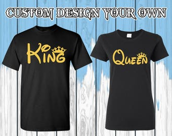 Camisetas de rey reina rey reina camisas camisetas de rey reina rey & Reina T-shirts Couple camisetas par camisa par tes regalo para la pareja