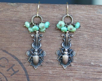 Beetle Insect French Brass Earrings with Green Bead Dangles