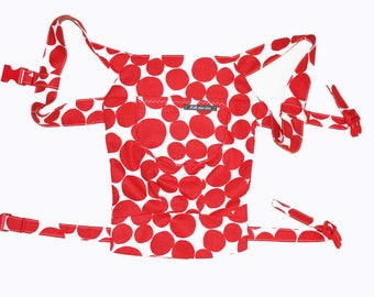 Doll carry/doll backpack dots red white