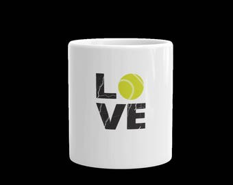 Love Tennis mug-sports mug-tennis cup-tennis cup-11 oz mug-15 oz mug-white ceramic love tennis mug-gift mug