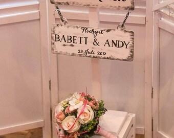 Welcome to stand, signpost (wedding) Variante3 wedding/vintage/boho/individual/handmade/door sign