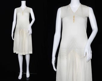 1920s Ivory Day Dress with Pleating Detail