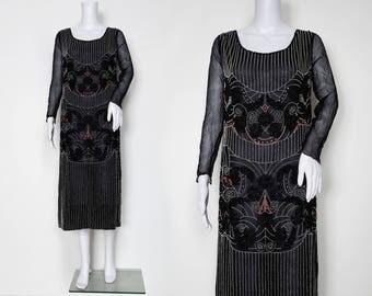 1920s Beaded Dress - Silk Chiffon with Long Sleeves
