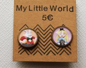 Alice & the White Rabbit earrings