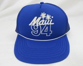 Vintage 90s Maui Hawaii 1994 Blue Hat Headwear Cap