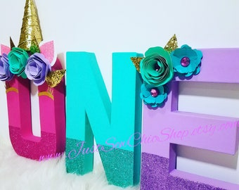 Unicorn Party Decor~First Birthday Letters~Unicorn Props~Milestone~Decorative Letters