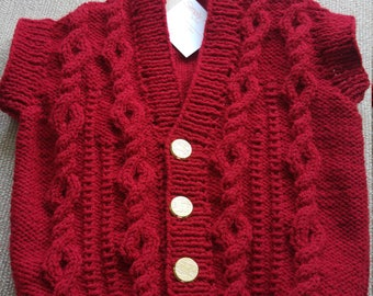 Boys hand knitted aran waitcoat