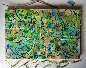 Forest of Ferns // Collage + Mixed media. Modern abstract expressionist watercolor painting. Original statement art. 24x36