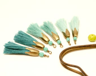 6 tassels, mint, emerald green, sea green, Bronze, Tassel