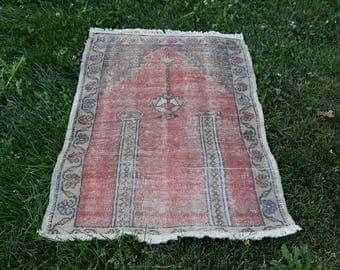 Rare Vintage Turkish Rug 2.7 x 3.6 feet Free Shipping Oushak Rug Floor Rug Decorative Rug Boho Rug Aztec Rug Tribal Rug Code182