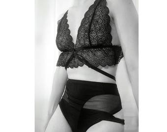 Triangle bra soft lace handmade luxury lingerie sheer harness