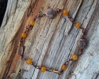 Butterfly Beads Orange Bracelet