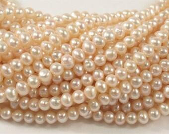 3.5-4 mm Light Baby Pink Potato Freshwater Pearl Beads, Baby Pink Potato Genuine Cultured Pearl Beads, Wedding / Bridal Pearls(460-BPK0354)
