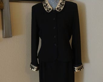 Classic vintage black and ivory  Albert Nipon skirt blazer suit