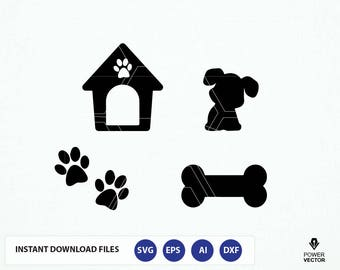 Dog SVG File. Dog Cut File. Dog Png. Dog Cricut. Dog Cameo File. Dog House, Bone, Paw Prints Svg. Dog Vector. Puppy Svg. Paw Monogram Svg