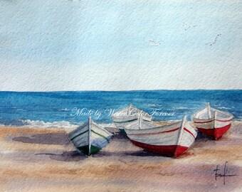Original watercolour, Mediterranean sea, seascape, nautical theme, sea coast, Spain, summer landscape, watercolor landscape