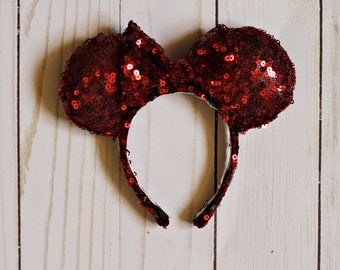 AG.Beans Outfitters Original Sequin Mini Mouse Ears- Red