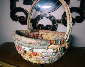 Colorful Fabric Basket, Vintage Cloth Easter Basket with Handle