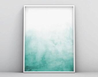Green Blue Wall Art, Teal Abstract Digital Print, Abstract Watercolor Print Wall Art, Teal Pattern Print, Teal Art, Teal Decor Abstract