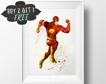 The Flash Wall Art Print Decor, Printable Poster, Dc Comics Justice League Death Battle, Wall Art Watercolor Download, Dc Comics Wall Art