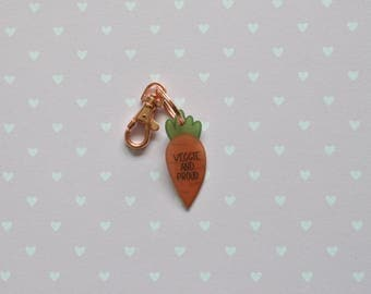 Veggie and Proud Carrot Keyring