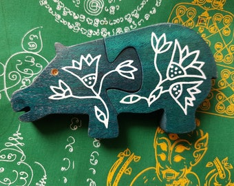 Egyptian Hippo Wood Puzzle Toy Child Souvenir