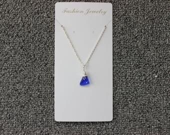 18'' Cobalt Blue Beach Glass Necklace