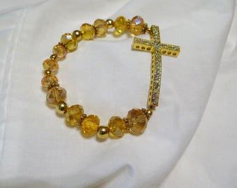 "Handmade Sideways Gold Tone Rhinestone Cross Strech Bracelet Yellow Gold Beads 7 1/2"""