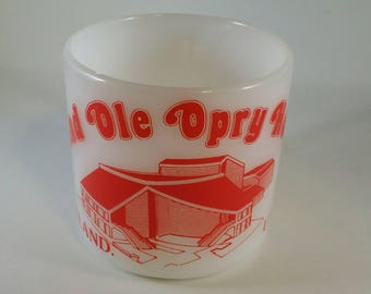 Federal Milk Glass Grand Ole Opry House Coffee Mug 60s 1960s Country Western Red Graphic USA Nashville TN Tennessee Bluegrass Southern Charm
