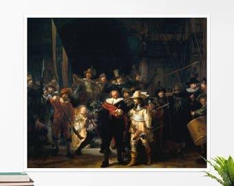 "Rembrandt, ""The Night Watch"". Art poster, art print, rolled canvas, art canvas, wall art, wall decor"