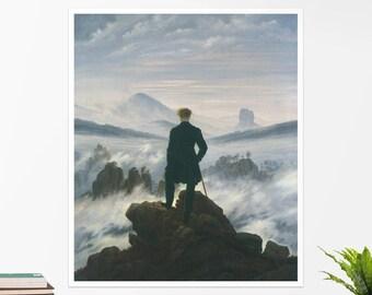 """C. D. Friedrich, """"The Wanderer Above the Sea..."""". Art poster, art print, rolled canvas, art canvas, wall art, wall decor"""