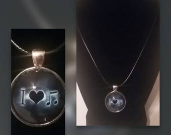 I Love Music glass pendant necklace