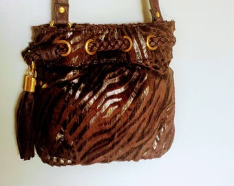 Brown Crossbody Bag/Faux Leather Bag/Braciano Crossbody Bag/Brown and Gold Bag/Small Bag Under 20.00/Gift For Her/No.097