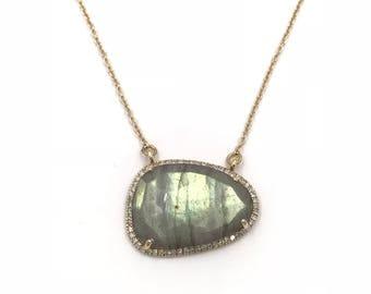 Short 14k gold diamond AAA labradorite necklace