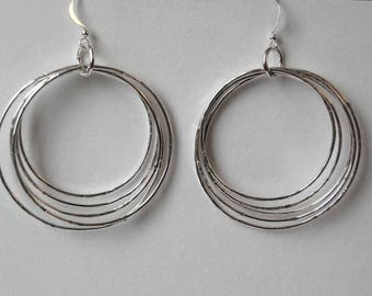 Silver Multiple Hoop Earrings/Handmade Hoop Earrings/Silver Circle Earrings/Gift For Her/Dangling Hoop Earrings/Rustic Handmade Earrings