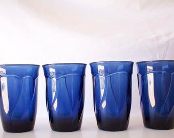Vintage Cobalt Blue Drinking Glasses - Set of 4