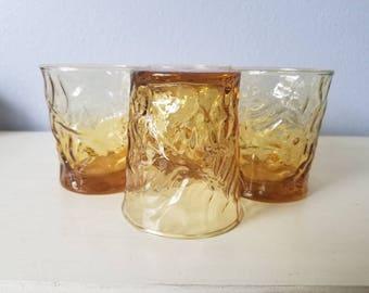 Vintage Libbey Amber rocks glasses