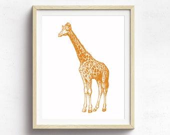 Giraffe Poster, Vintage Giraffe Illustration, Animal Print, Nursery Art, Circus Poster