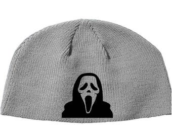 Scream Ghostface Ghost Face Wes Craven Slasher Trilogy Beanie Knitted Hat Cap Winter Clothes Horror Merch Massacre Christmas Black Friday