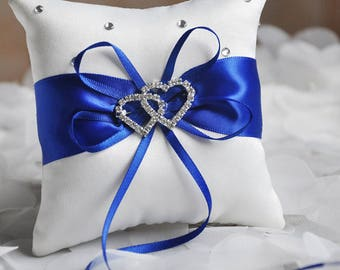 White with blue ribbon ring pillow...20cm x 20cm