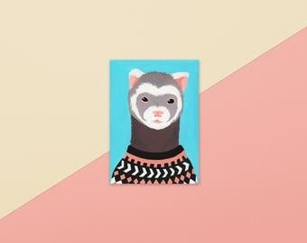 Ferret In Icelandic Sweater postcard, 330g matte