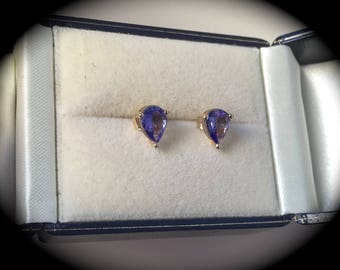 """1.24ct Tanzanite Earrings 9ct Yellow Gold  """"CERTIFIED AA""""  -  Great Colour!"""