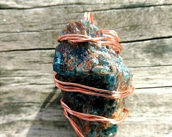 Raw Blue Apatite stone Pendant/wrapped with copper wire