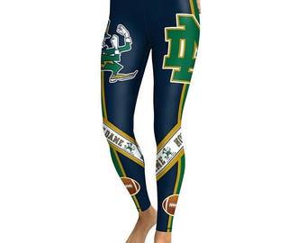 New Women's University of Notre Dame Fighting Irish Leggings NCAA College Football South Bend Indiana