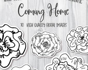 Flower doodles, Hand drawn flowers, floral clip art, sketched flowers, flower png