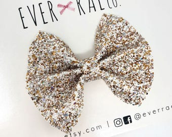 christmas gold glitter bow   winter holiday bow   christmas glitter   babys first christmas bow   girls bows   newborn headband bow