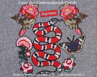Snake Patch Supreme Patch Flower Patch Butterfly Patch Embroidered Patch Fly Patch Set Iron On Patch Group  #A7GZ  #B16  #A6 #A1 #B5 A7#A4