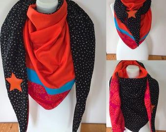 Maxi scarf orange red woman