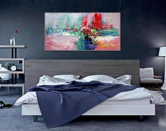 """Abstract Painting Modern Wall Art Acrylic Painting Canvas Art Red Green Original Modern Interior Decor Painting 24x48""""/60x120cm"""